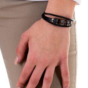 Jewelry - Mix Hoops Braided Leather Cuff, Hematite